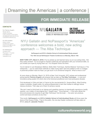 Press Release about ALBA session in NoPassport's theater conference at NYU Gallatin School of Individualized Study