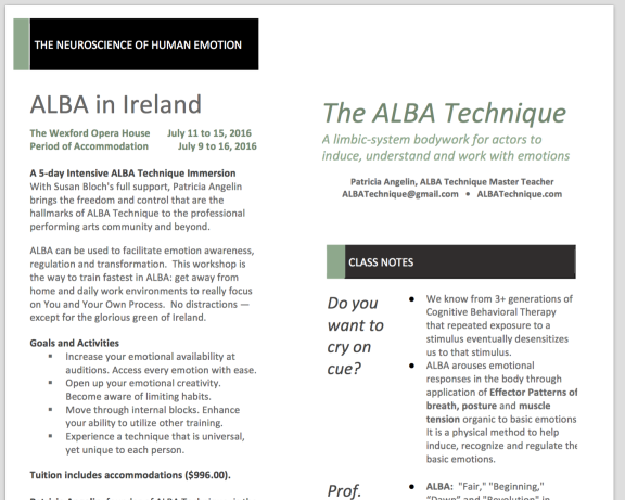 Class Notes on ALBA Technique (page 1)